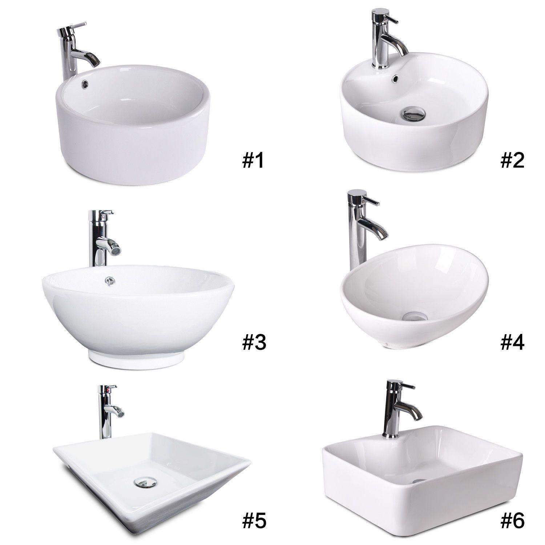 Bathroom Vessel Sink Ceramic Basin Bowl Chrome Faucet Pop Up Drain