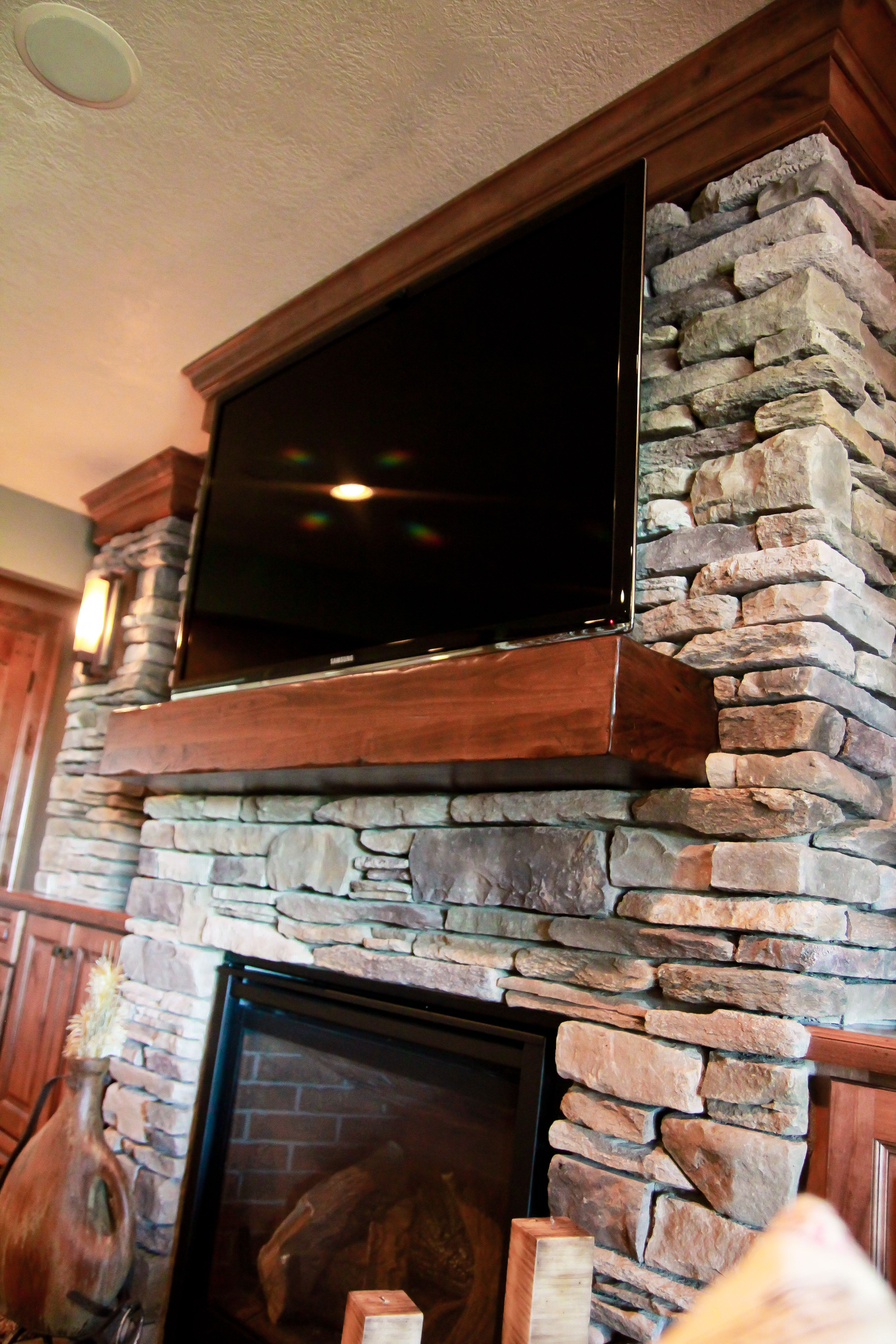 Stone Fireplace Surround Wood Mantle Tv Over Fireplace