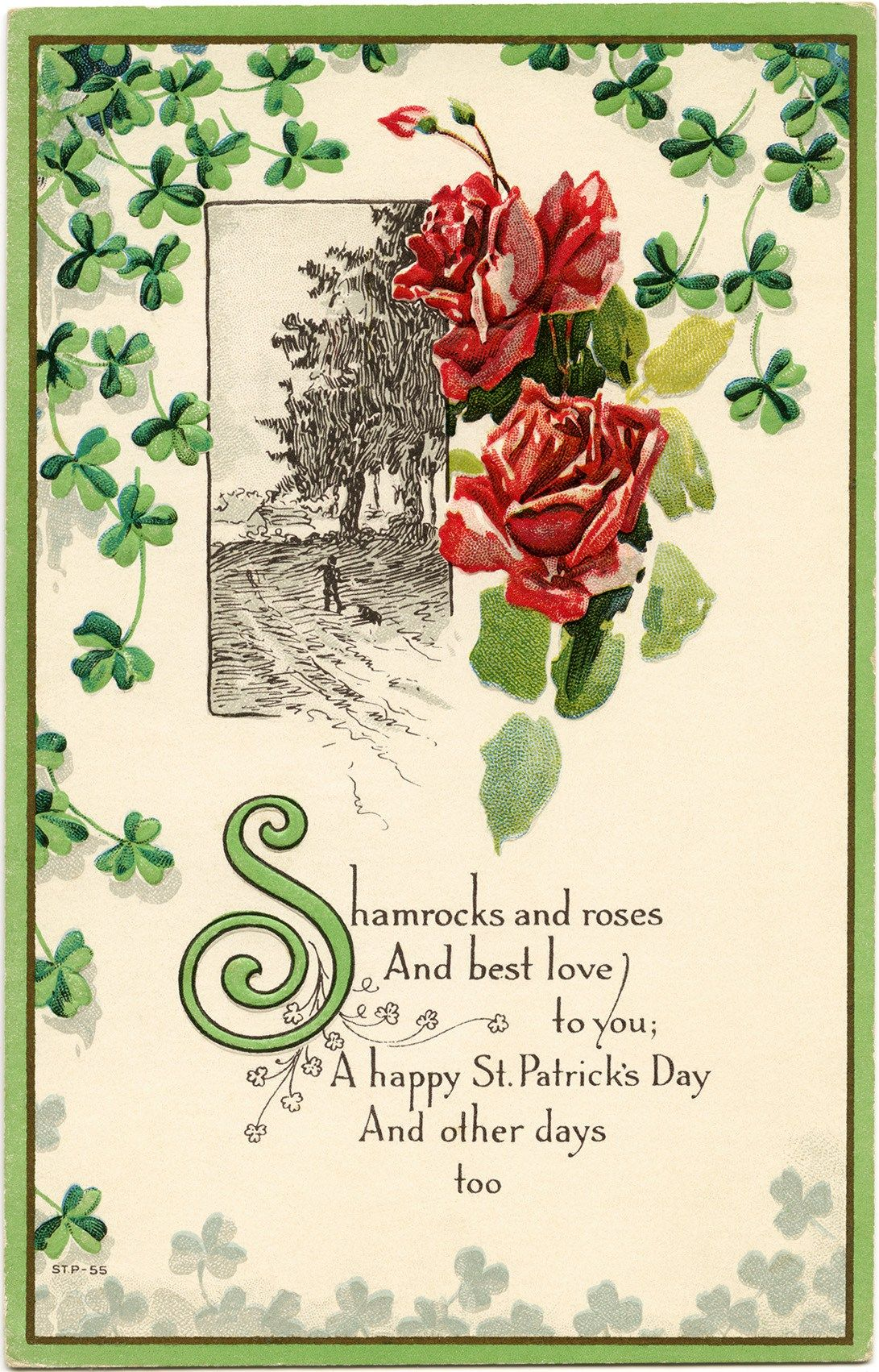 St Patrick\'s Day postcard, shamrocks and roses clip art, vintage ...