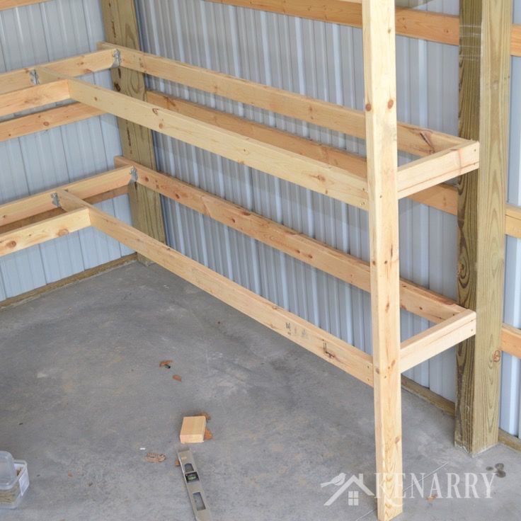 DIY Corner Shelves for Garage or Pole Barn Storage #polebarns