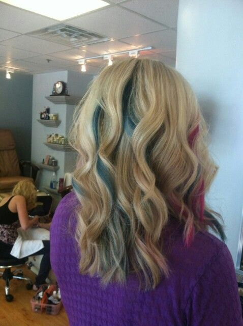 blond hair  teal  pink peek  boo highlights 478 x 640 · jpeg