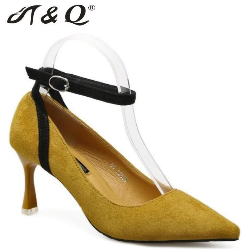 2ead559bce2d T Q 2017 Autumn Women Pumps Fashion Sexy High Heels Shoes Ankle Strap  Pointed Toe Thin Heel Lady Wedding Party Women Shoes