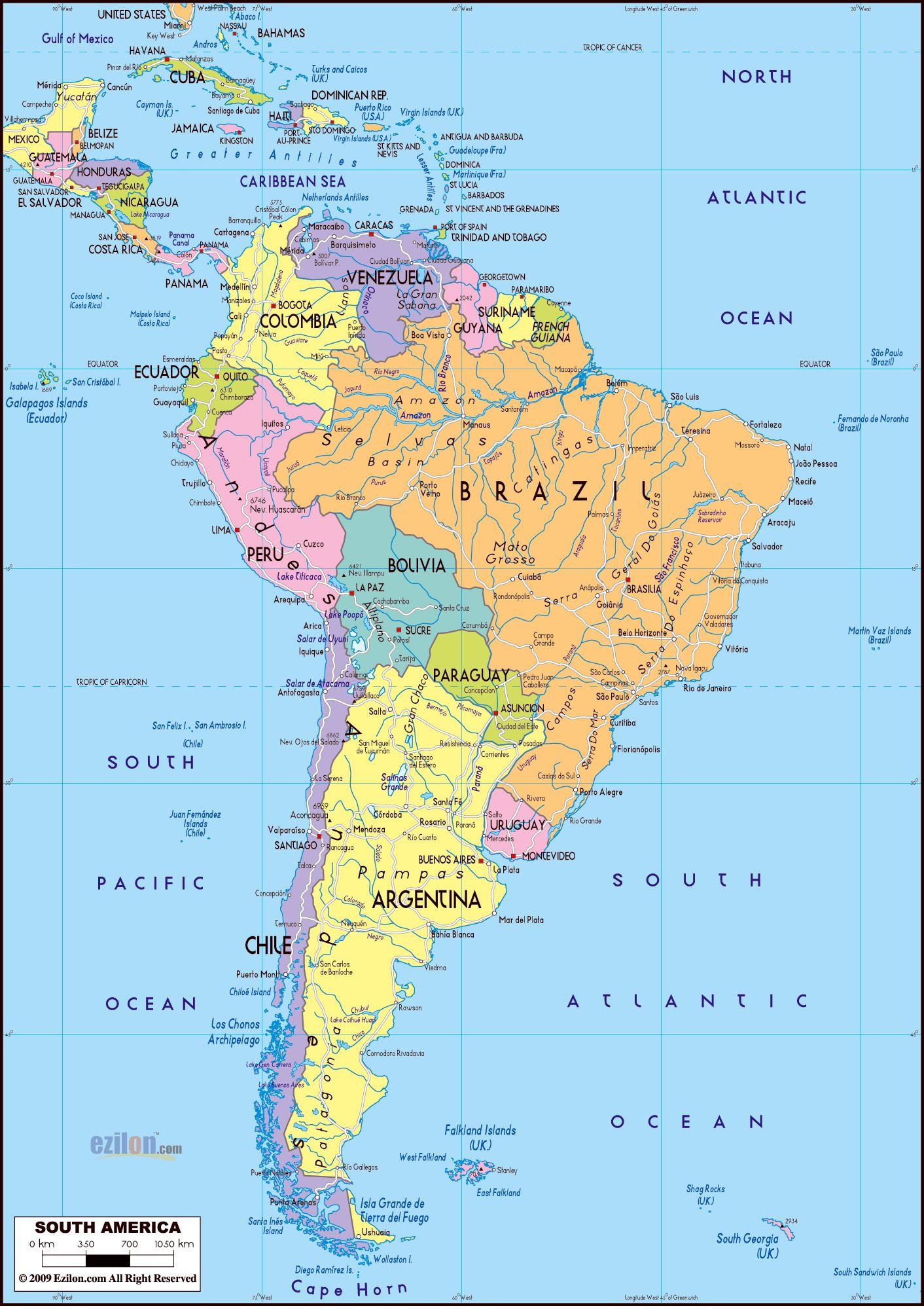 Ameryka Poludniowa Mapa Polityczna With Images Mapa Wykresy