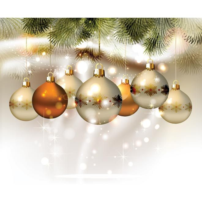 Free vector illustration of Christmas ball set hanging brochure - christmas flyer template