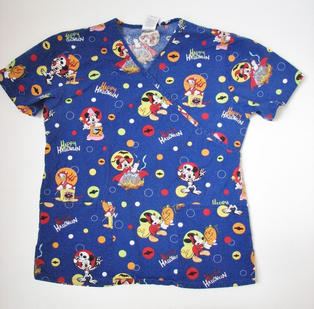d5e65a4e1103 Disney Halloween Mickey Minnie Mouse Short Sleeve Scrub Shirt S Nurse  Hygienist
