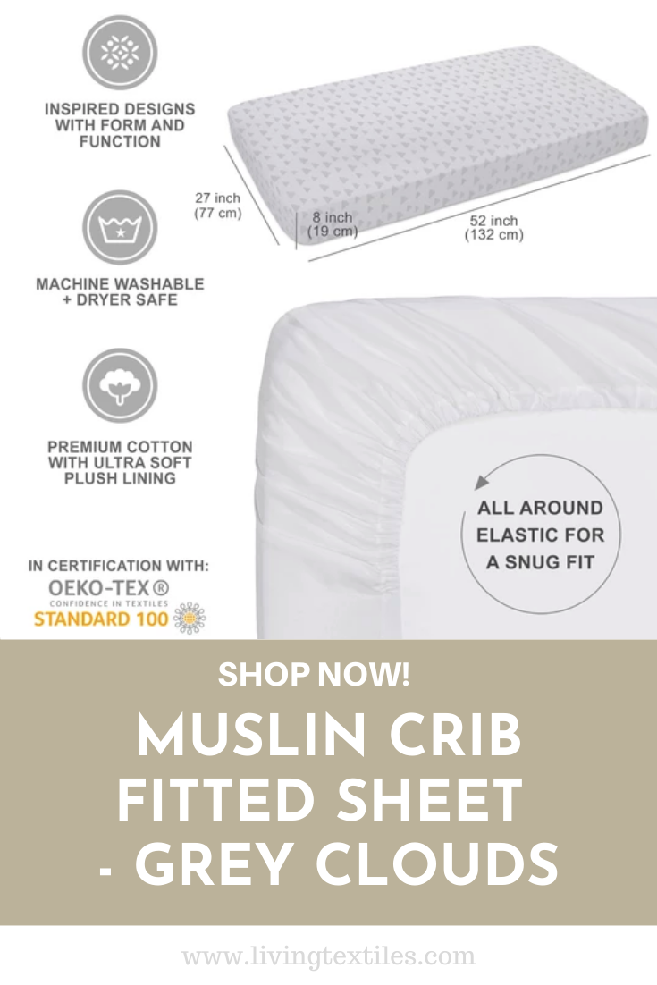 Muslin Crib Fitted Sheet Grey Clouds Fitted Crib Sheet Fitted