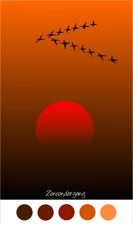 ZONSONDERGANG - Vogels vliegen in V vorm tijdens de zonsondergang - Silhouet - Rood - Oranje - Zwart