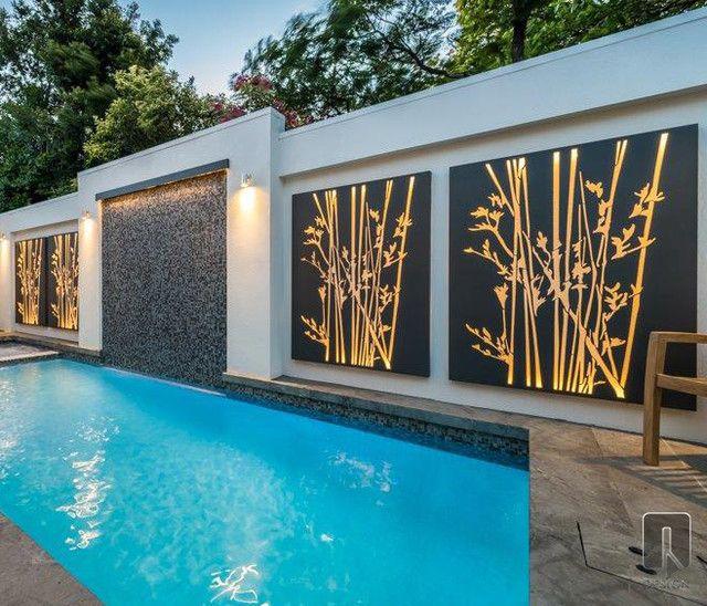 Resultado De Imagen De Modern Garden Wall Designs Piscinas Modernas Arte De Pared Al Aire Lbre Terraza Con Alberca