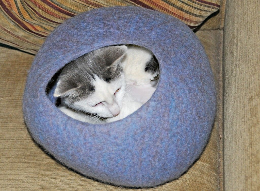 How to Make a Wet Felted Cat / Kitten Cave/ a Free