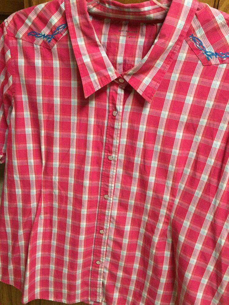 0831ac55 Bit & Bridle Womans Shirt 2X XXL Pink plaid Western Cowboy Pearl Snap  Blouse #BitBridle #Western #Casual
