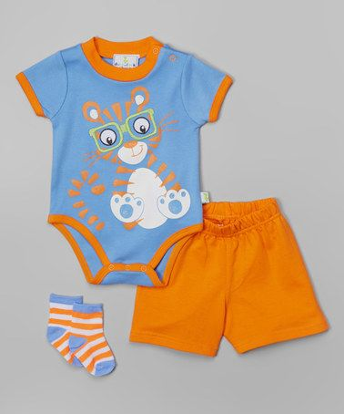 96777a2c0 Love this Blue & Orange Tiger Bodysuit Set by Duck Duck Goose on #zulily!  #zulilyfinds