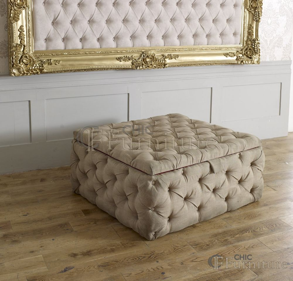 Large Square Chesterfield Buttoned Fabric Upholstered Storage Ottoman Box