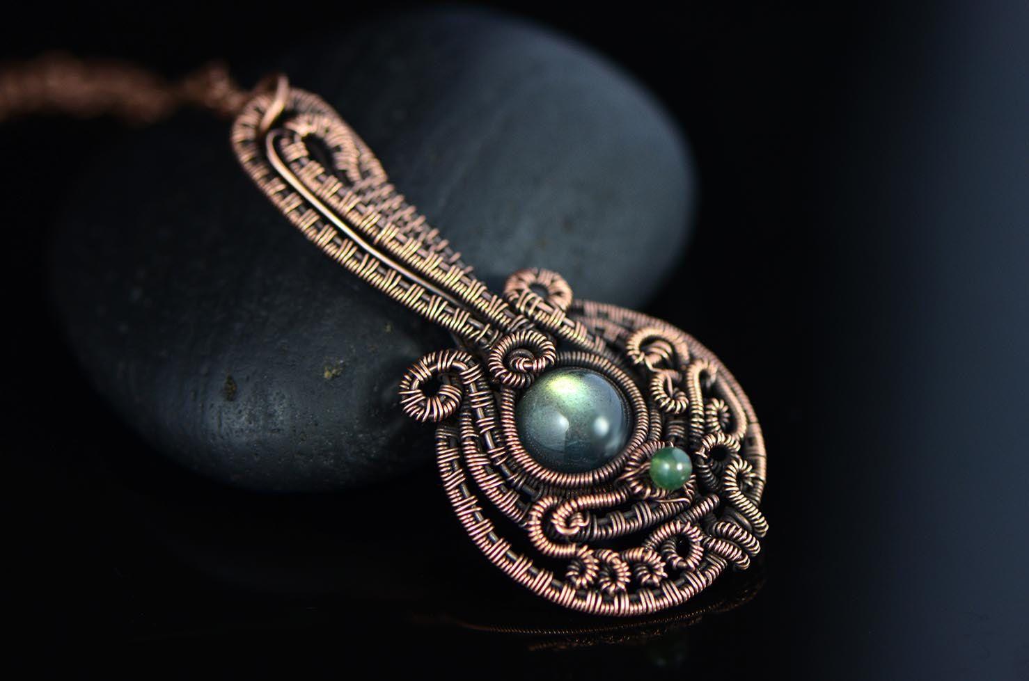 Musical jewelry wire wrapped pendant mandolin lute от OrioleStudio