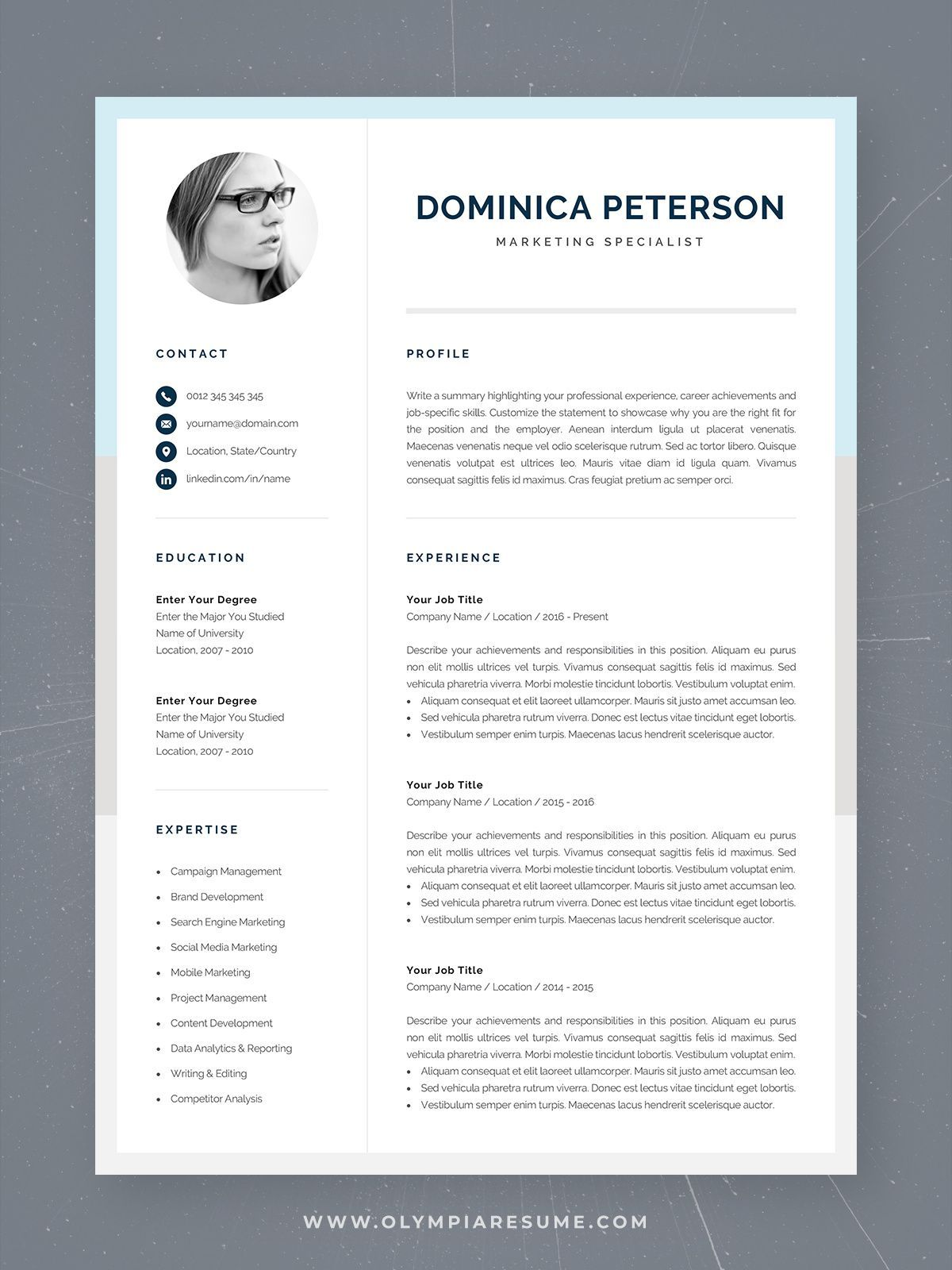 Modern Resume Template Creative Cv With Photo 1 2 Page Etsy Modern Cv Template Cv Template Creative Resume Templates