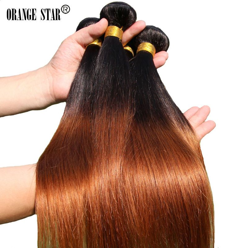 6 Color Two Tone Brazilian Ombre Hair Extensions 3 Bundles Ombre