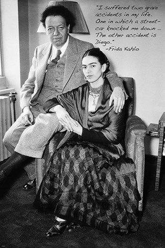 Famous Artist Frida Kahlo Vintage Photo Quote Poster Diego Rivera