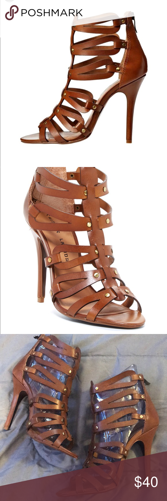 2c5db3e3783d8 Chinese Laundry Jane s Way gladiator heels Sz. 6.5 Chestnut Chinese Laundry  gladiator heels. In great used condition. No box. Size 6.5 Strappy cage  heels ...