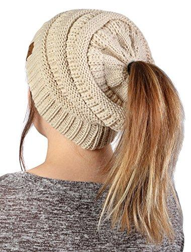 0392788743a Funky Junque s CC BeanieTail Womens Ponytail Messy Bun Beanie Solid Ribbed  Hat Cap