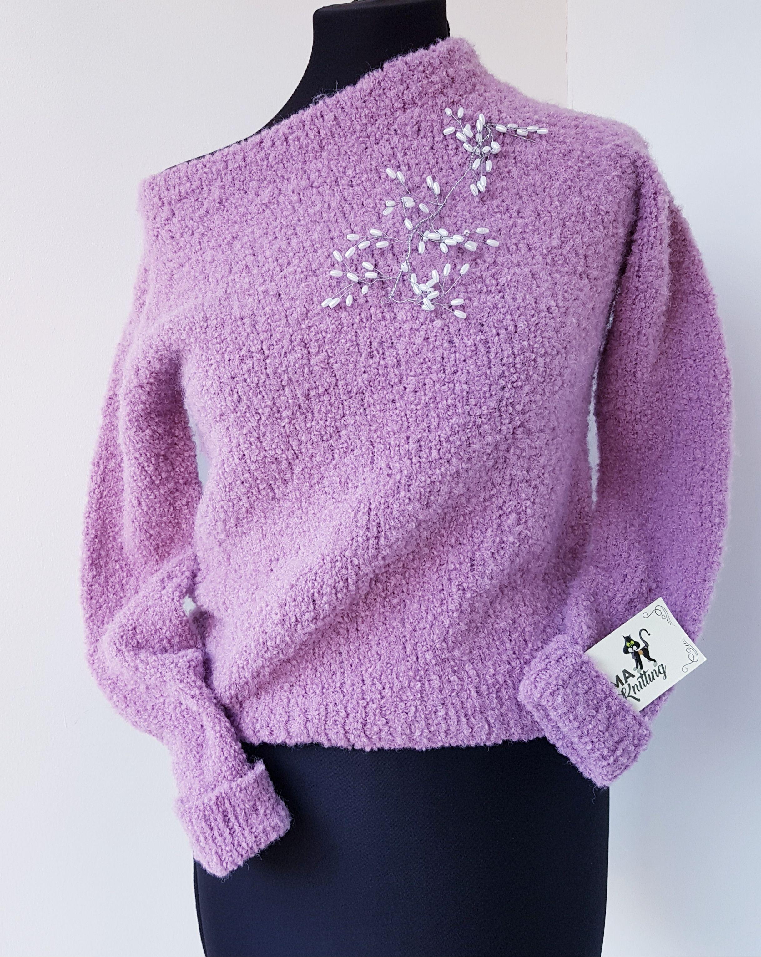 426d44306225 Нежный сиренево-розовый пуловер из буклированной пряжи. | вязание ...