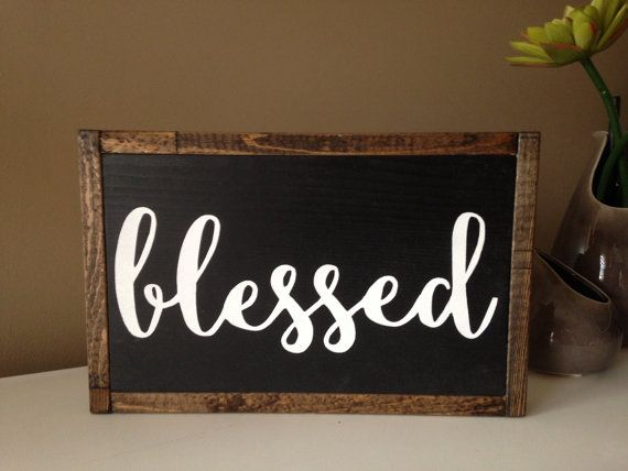 Blessed. Framed painted wooden sign. by SPandHB on Etsy