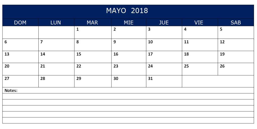 calendario excel 2018