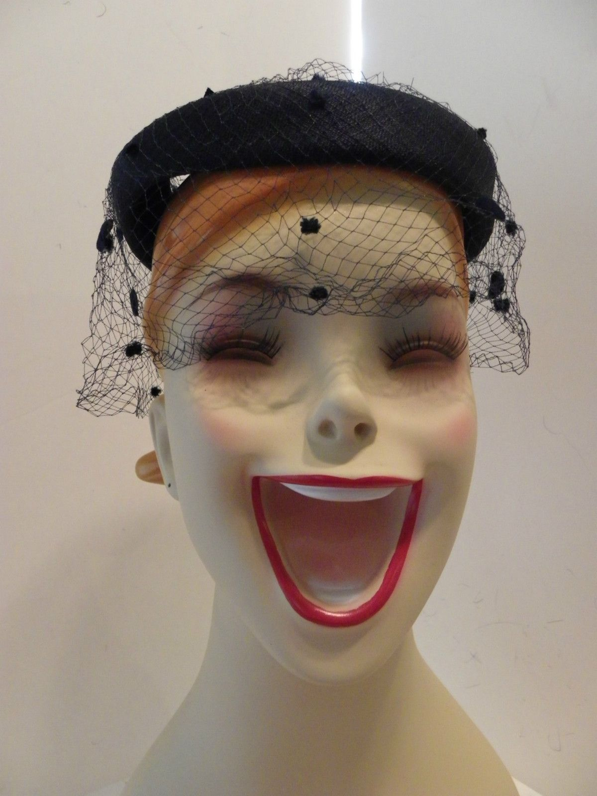 How much for the hat stand   Vintage Netting Navy Blue Bow Women s Hat  8a876da585