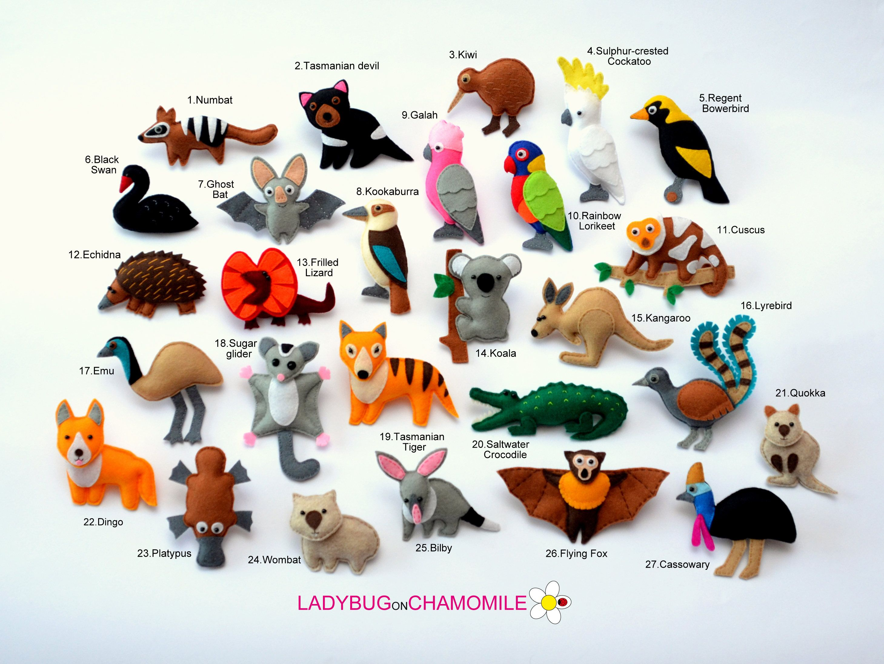 AUSTRALIAN ANIMALS felt magnets - price per 1 item - make your own ...