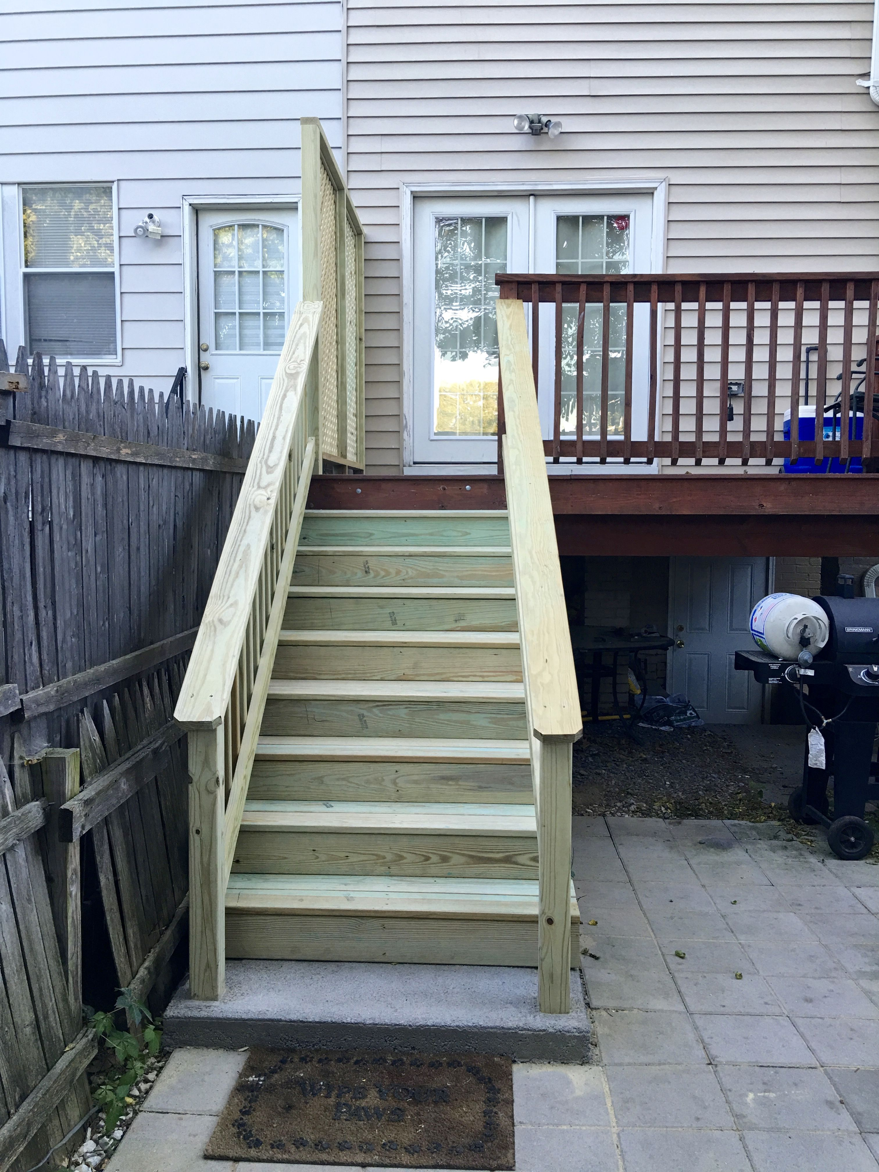 Superieur New Deck Stairs, Railing, And Privacy Panel (pre Stain). Replacing The Deck  Stairs