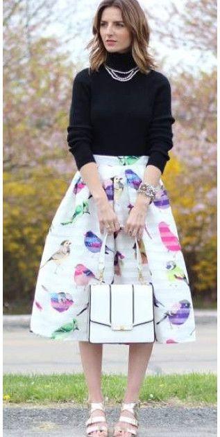 Modest knee length midi bird print skirt | Mode-sty tznius fashion ...