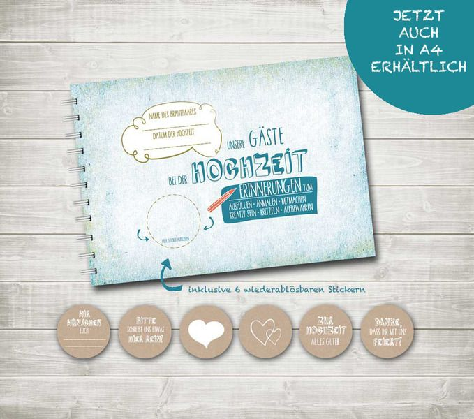 Gästebuch Hochzeit A4 türkis blau