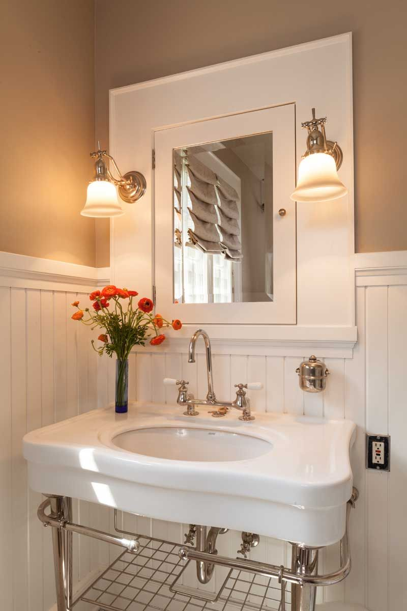 True craftsman wainscoting medicine cabinets and woodwork