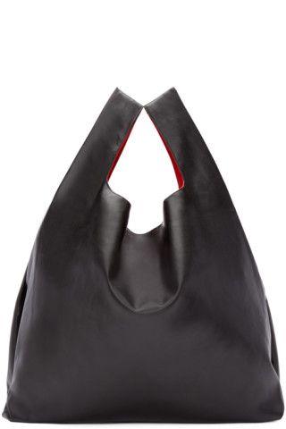 51087920040 Yohji Yamamoto  Black Pleated Leather Tote   SSENSE   Handbags ...