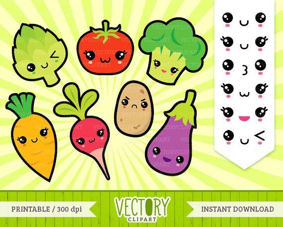 13 Kawaii Vegetable Clipart, Kawaii Healthy Food Clipart, Kawaii ...