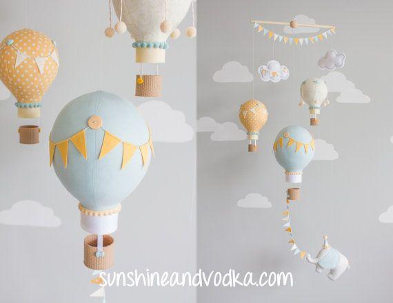 hot air balloon baby mobile travel theme nursery decor. Black Bedroom Furniture Sets. Home Design Ideas