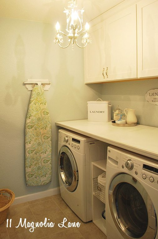 Laundry Room makeover with DIY laundry room folding shelf images