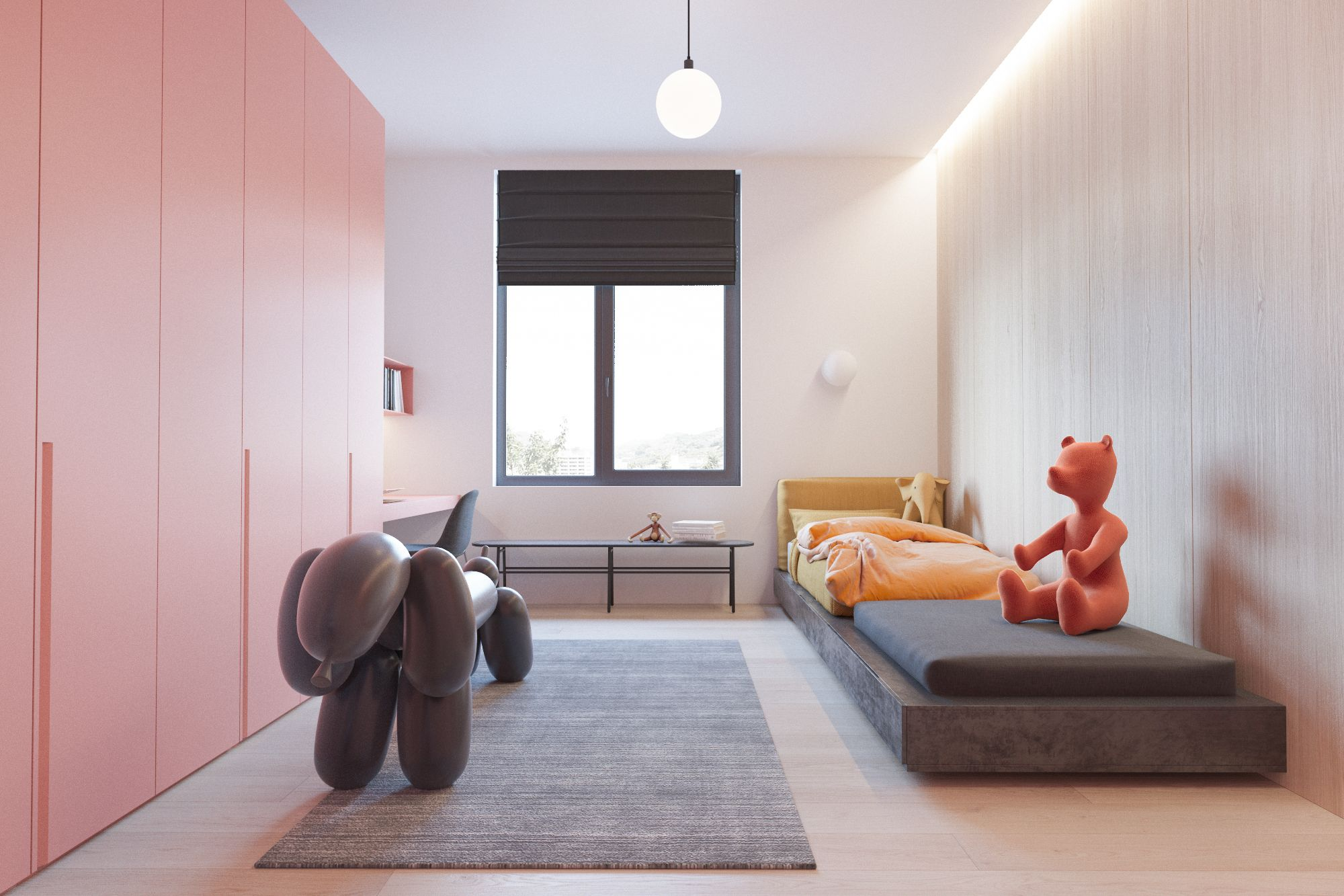 - Floor to ceiling wardrobes - Colour scheme - Long bed with seating - Wooden floors - Simple neutral carpet - Light rails - Floating bed box