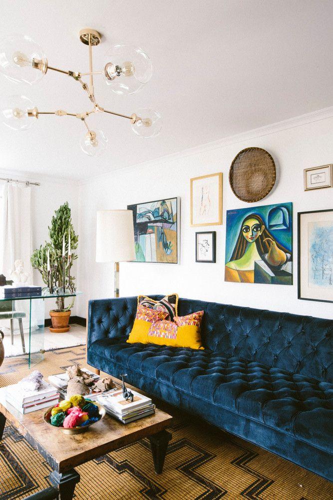 A Michigan Home That Feels More Like Morocco Navy sofa Living