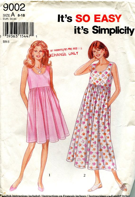 RESERVED for Lori Lytle: 1990s Dress Pattern, Simplicity 9002, Size ...