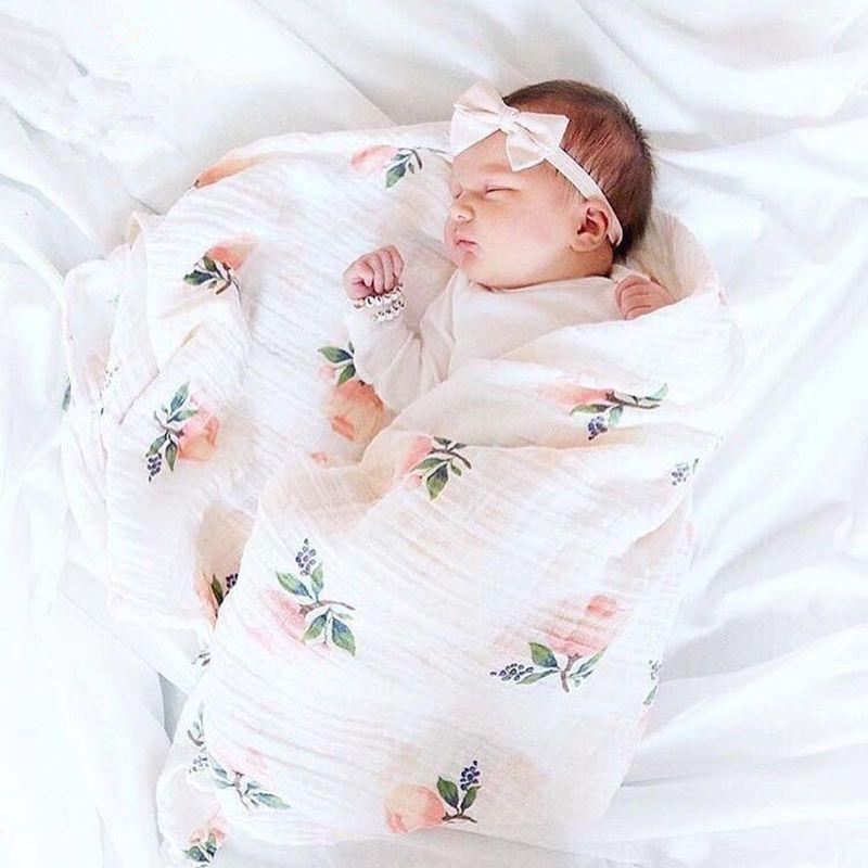 Cotton Swaddle Muslin Newborn Blanket Floral Wrap Swaddling Blanket 2Pcs Towel