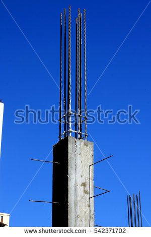 Reinforced Concrete Pillar, House Construction Site, Laos, Toned Photo