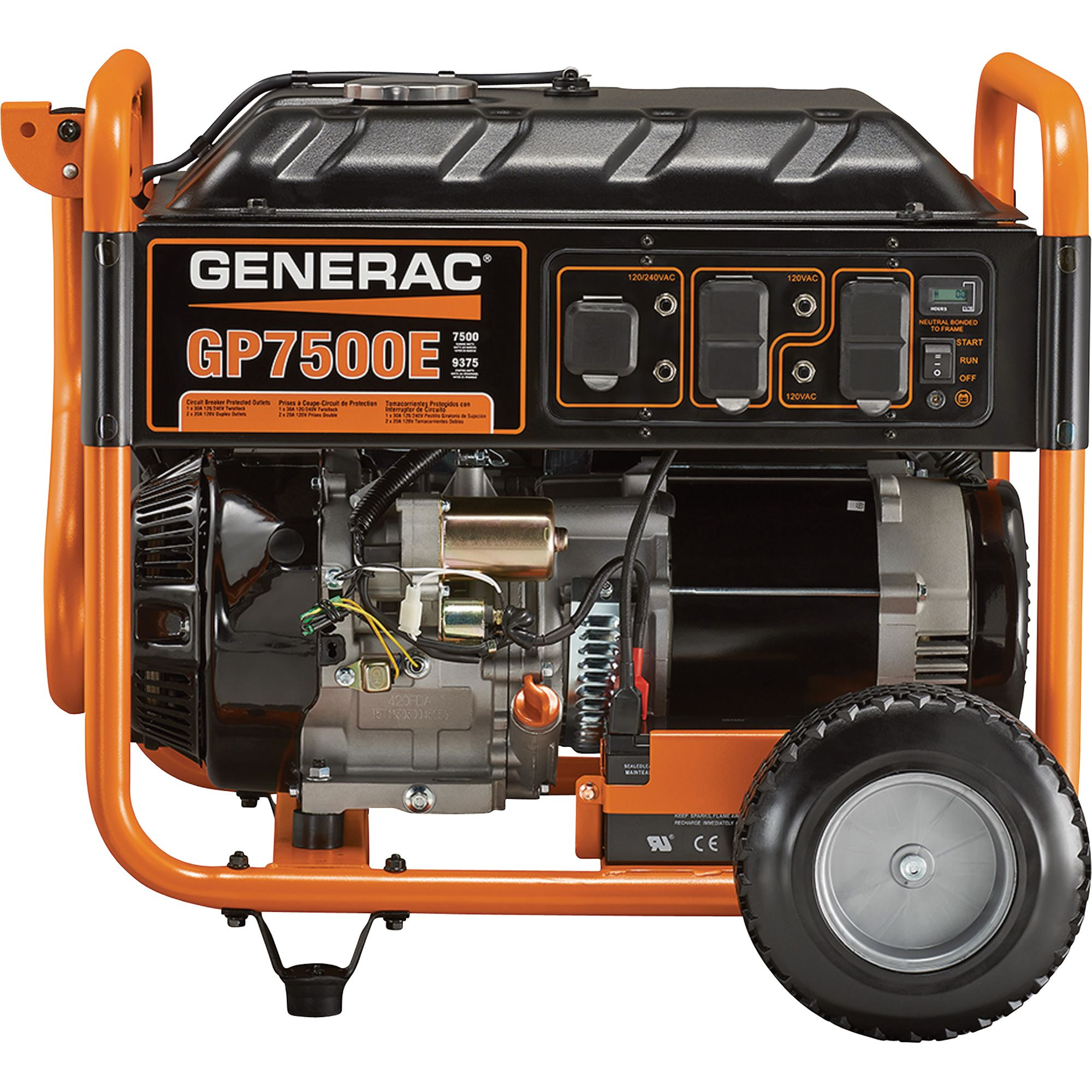 this generac gp7500e portable generator is easy to use in a variety of applications and offers affordable reliability the 420cc generac ohv engine has  [ 2000 x 2000 Pixel ]