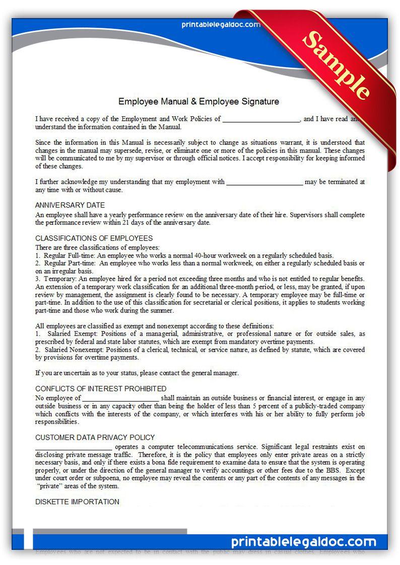 Free Printable Employment Manual & Employee Signature | Sample ...