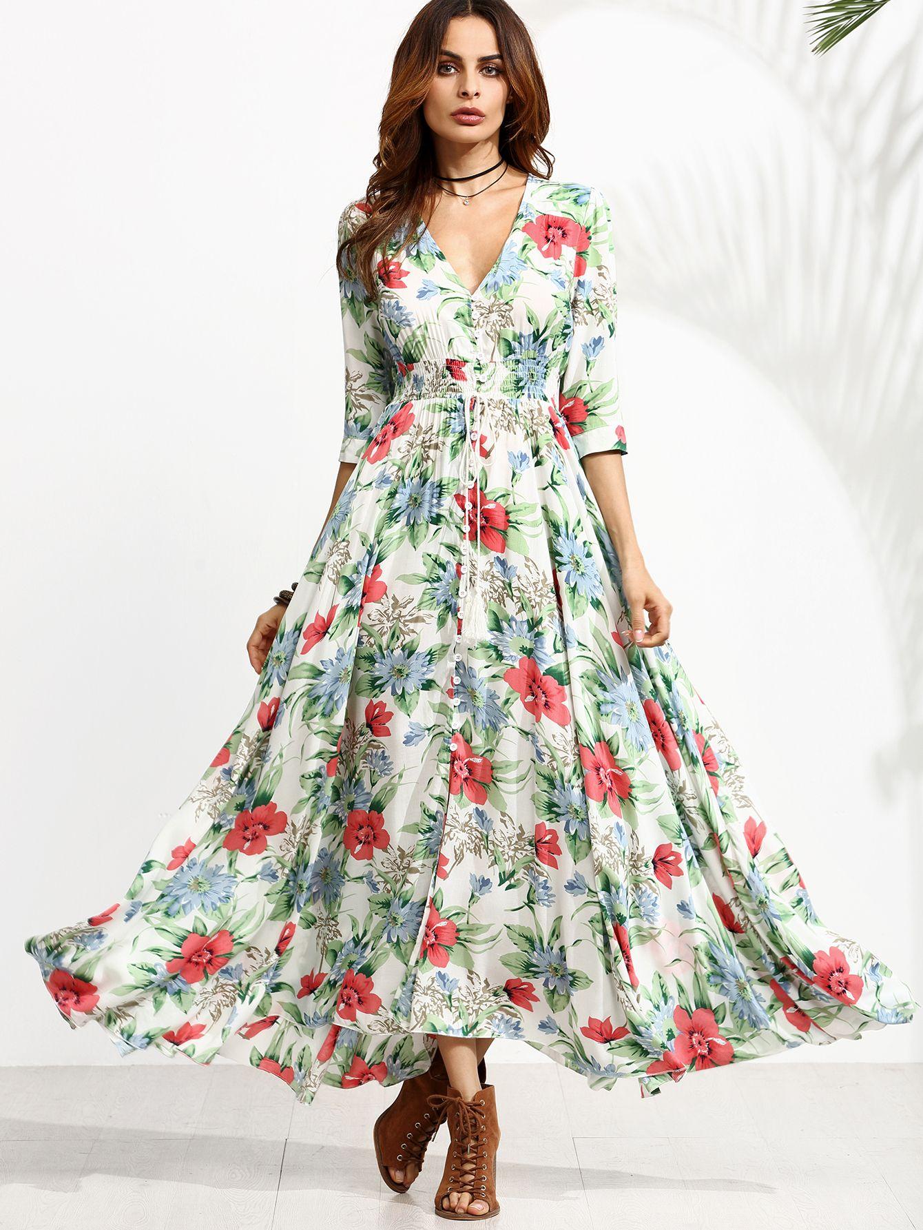 44b44682fa Shop Floral Print Drawstring Button Front Swing Dress online. SheIn offers Floral  Print Drawstring Button