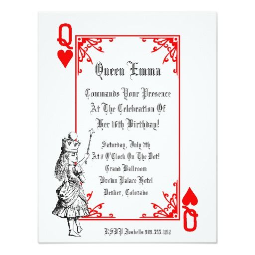 "Alice In Wonderland Playing Card  Party Invitation 5"" X 7"" Invitation Card"