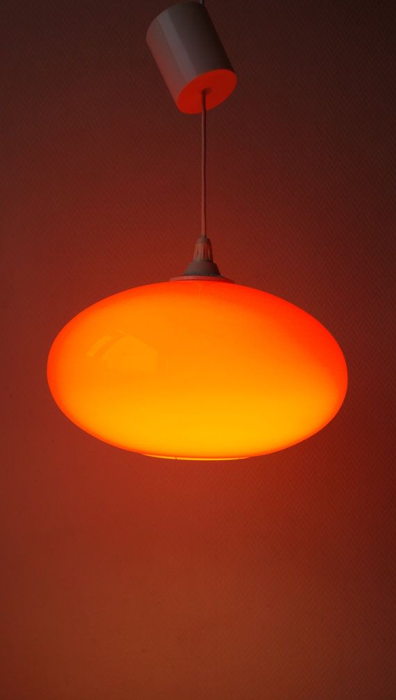 Large Orange Ufo Rugby Ball Shaped Gl Pendant Hanging Lamp Mid Century Modern E Age Luxus French Italian Scandinavian Design