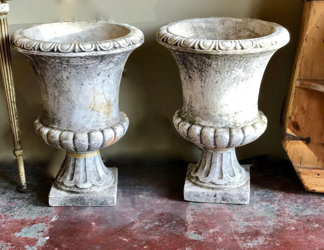 Pair Cement Urn Planters On Sale 16 Diameter X 22 High 640 x 480