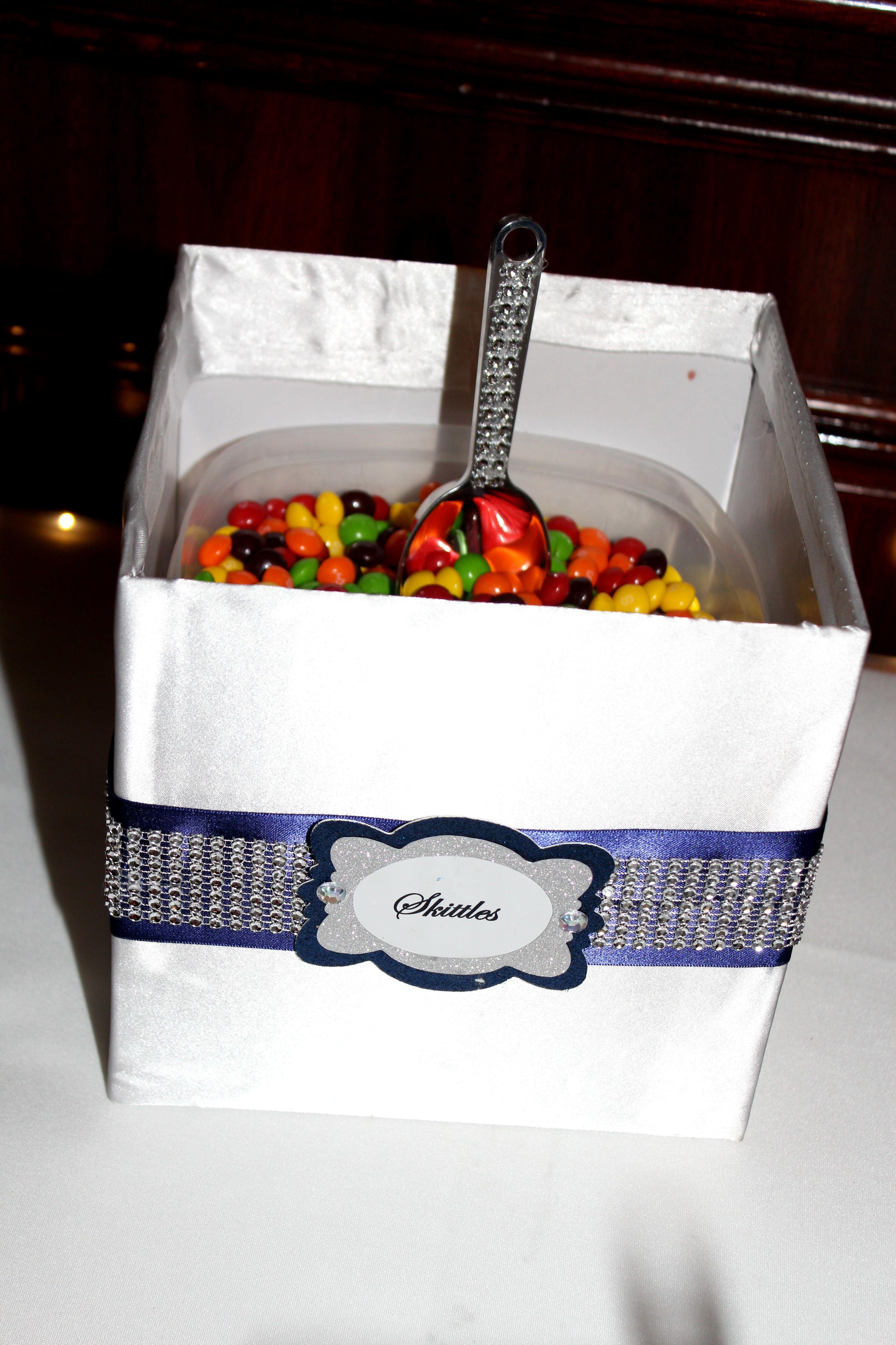 Skittles | Navy & White Communion Candy Tables | Pinterest