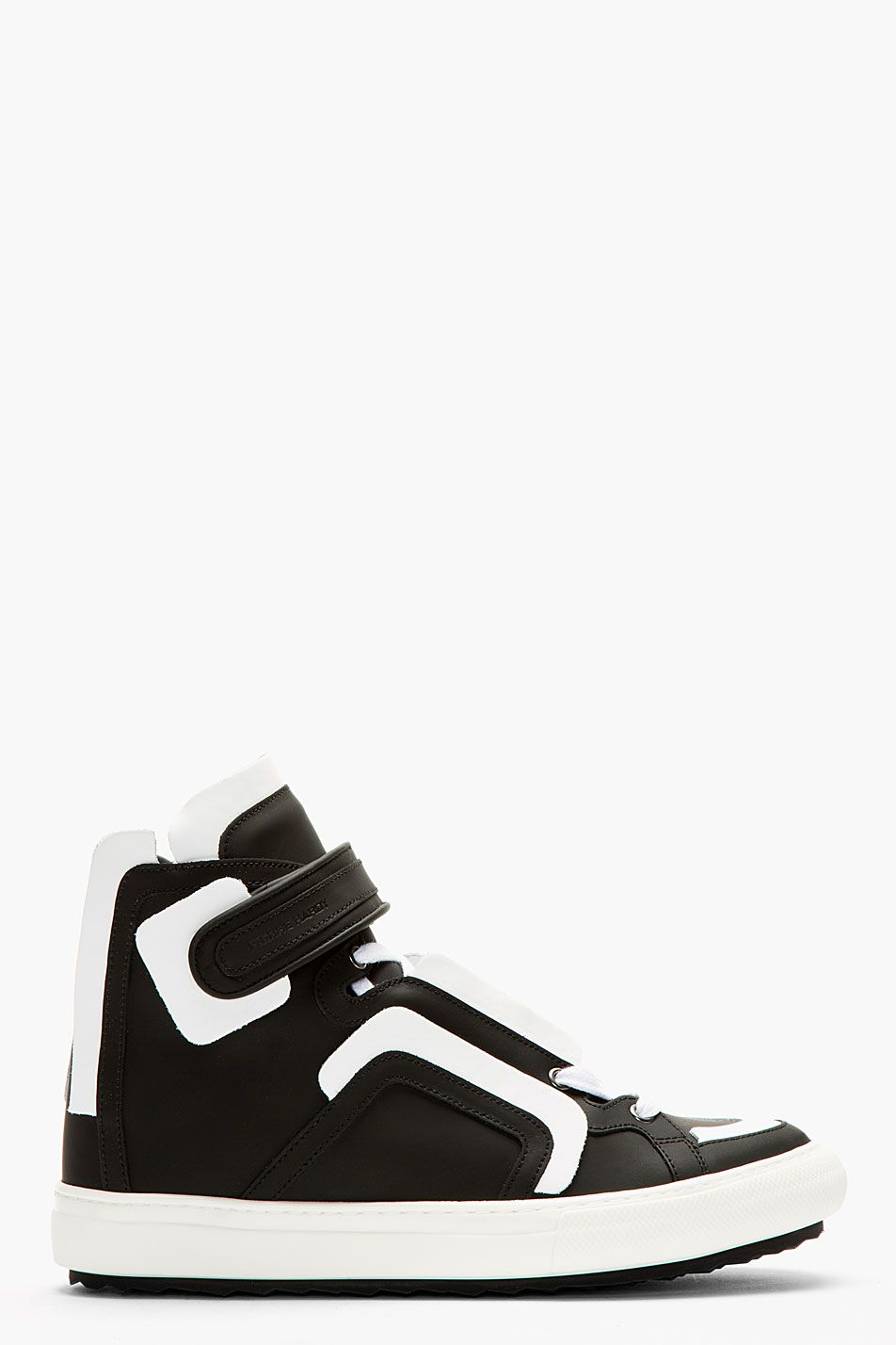 3733d89aaf7d Pierre Hardy Black Leather White Flag High top Sneakers