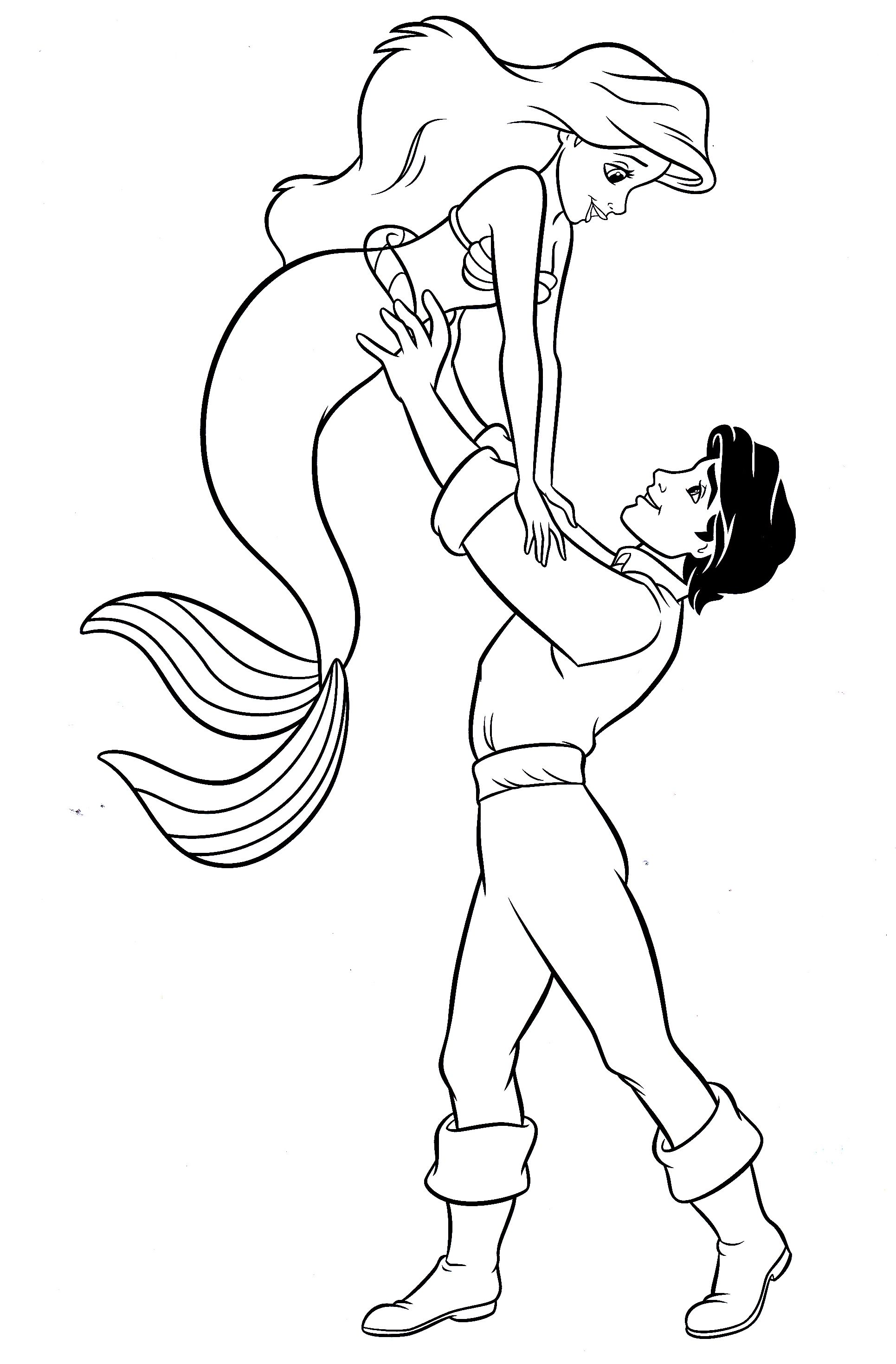 princess ariel prince eric coloring pages