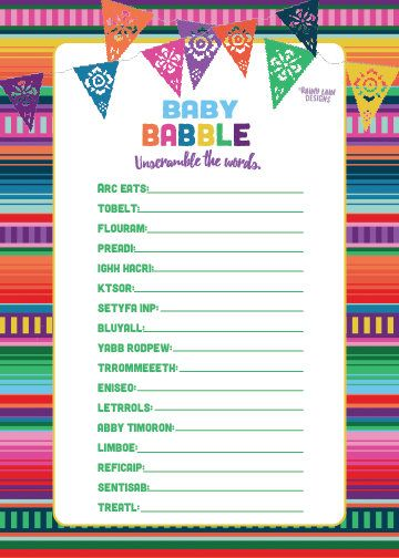 Baby Babble Game, Baby Shower Game Printables, Fiesta Baby Shower Games, Baby Fiesta, Fiesta Baby Shower, Mexican Fiesta, Fiesta Party Ideas